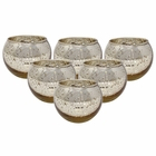 "Round Mercury Glass Votive Candle Holder 2""H Speckled Gold ( Set of 6)"