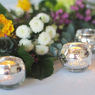 "Round Mercury Glass Votive Candle Holder 2""H Speckled Silver"