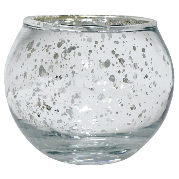 Round Mercury Glass Votive Candle Holder 2h Speckled Silver