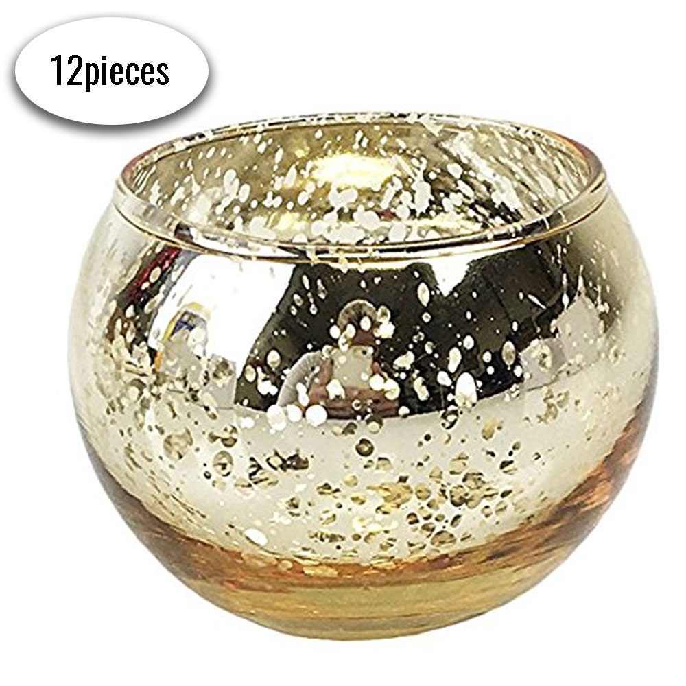 "Round Mercury Glass Votive Candle Holders 2""H Speckled Gold (Set of 12)"