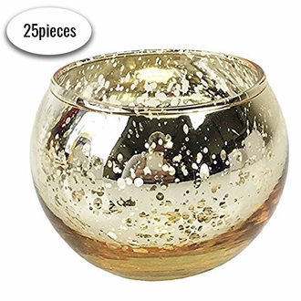 "Round Mercury Glass Votive Candle Holders 2""H Speckled Gold (Set of 25)"