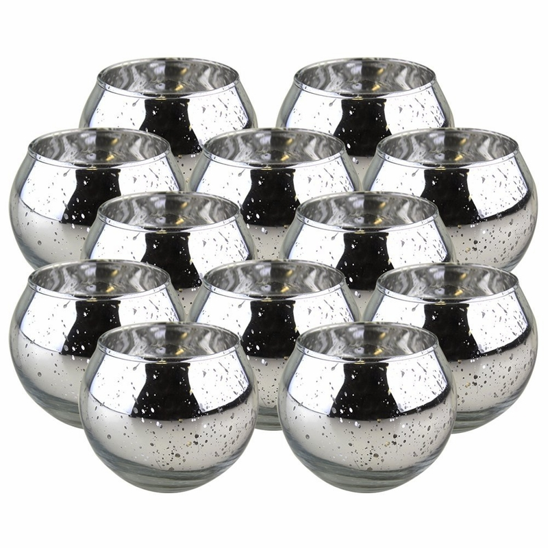 Round Mercury Glass Votive Candle Holders 2 H Speckled Silver Set Of 12
