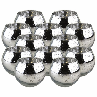 "Round Mercury Glass Votive Candle Holders 2""H Speckled Silver (Set of 12)"