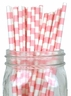 Rugby Stripe Paper Straws 25pcs Light Pink