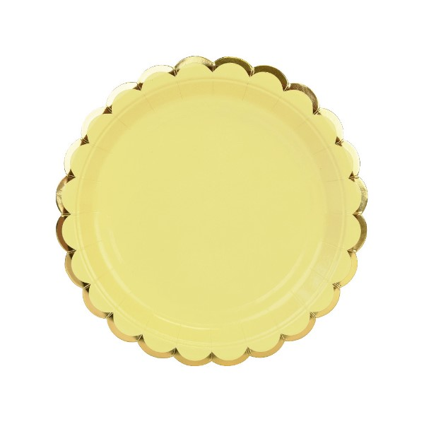 Scallop Solid Banana Yellow Round Dessert Paper Plate 7in 8pcs