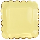 Scallop Solid Banana Yellow Square Paper Plate 9in 8pcs