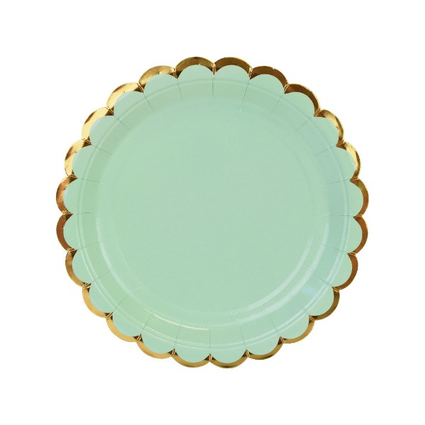 Scallop Solid Mint Round Dessert Paper Plate 7in 8pcs