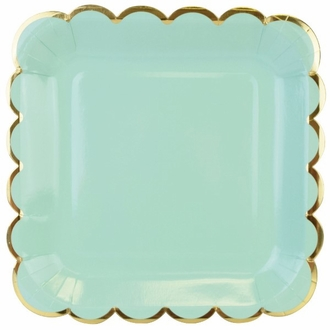 Scallop Solid Mint Square Paper Plate 9in 8pcs