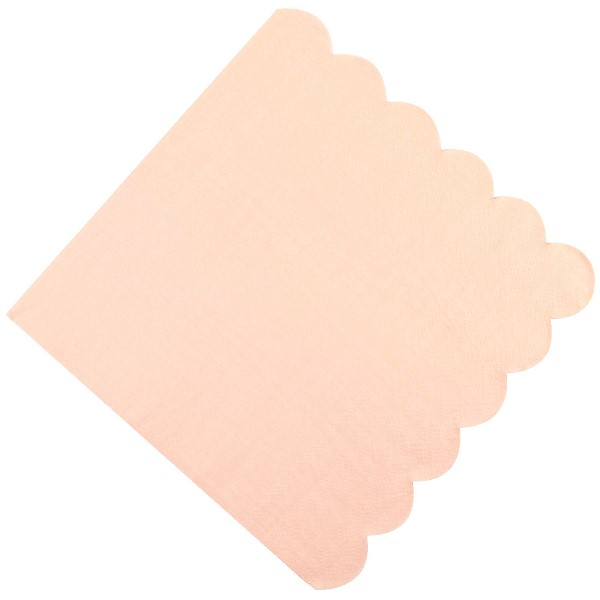 "Scallop Solid Peach Paper Napkins 6.5"" 20pcs"