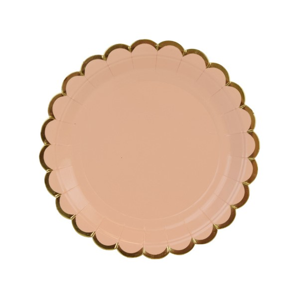 Scallop Solid Peach Round Dessert Paper Plate 7in 8pcs