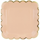 Scallop Solid Peach Square Paper Plate 9in 8pcs
