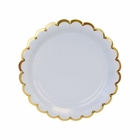 Scallop Solid Sky Blue Round Dessert Paper Plate 7in 8pcs