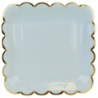 Scallop Solid Sky Blue Square Paper Plate 9in 8pcs