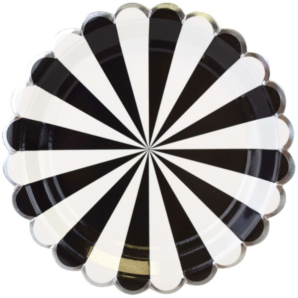 Scallop Stripe Black Silver Round Paper Plate 9in 8pcs