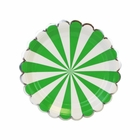 Scallop Stripe Kelly Green Silver Dessert Round Paper Plate 7in 12pcs