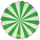 Scallop Stripe Kelly Green Silver Round Paper Plate 9in 8pcs