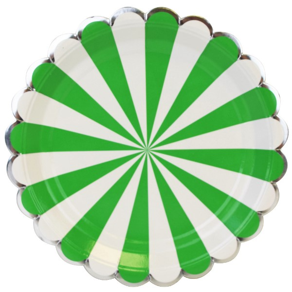 Scallop Stripe Kelly Green Silver Round Paper Plate 9in 8pcs  sc 1 st  Just Artifacts & Paper Plates for Parties | Just Artifacts