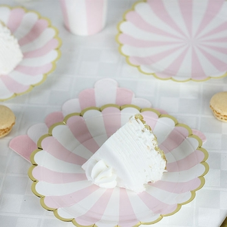 Scallop Stripe Light Pink Gold Dessert Round Paper Plate 7in 12pcs