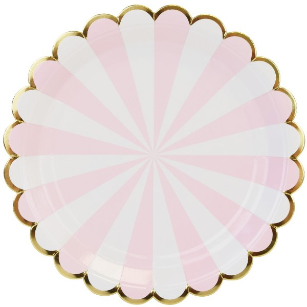 scallop stripe light pink gold round paper plate 9in 8pcs. Black Bedroom Furniture Sets. Home Design Ideas