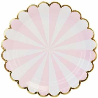 Scallop Stripe Light Pink Gold Round Paper Plate 9in 8pcs