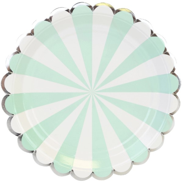 Scallop Stripe Mint Silver Round Paper Plate 9in 8pcs
