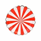 Scallop Stripe Red Silver Dessert Round Paper Plate 7in 12pcs