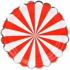 Scallop Stripe Red Silver Round Paper Plate 9in 8pcs