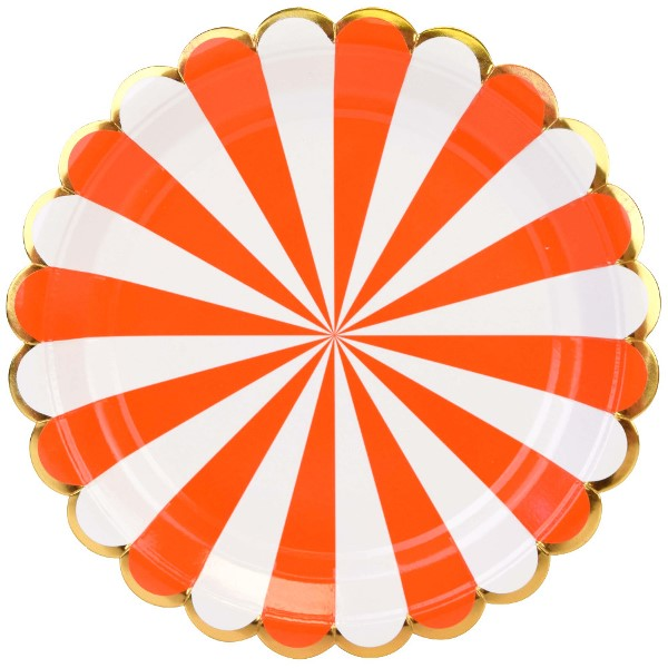 Scallop Stripe Tangerine Gold Round Paper Plate 9in 8pcs