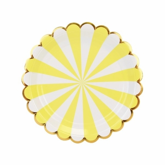 Scallop Stripe Yellow Gold Dessert Round Paper Plate 7in 12pcs