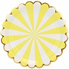 Scallop Stripe Yellow Gold Round Paper Plate 9in 8pcs