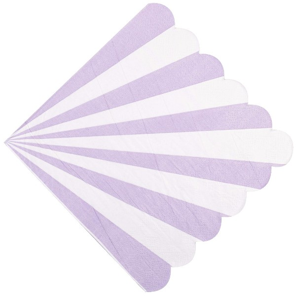 "Scallop Striped Lavender Paper Napkins 6.5"" 20pcs"