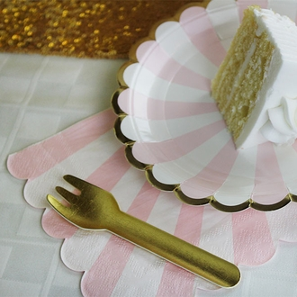 "Scallop Striped Light Pink Paper Napkins 6.5"" 20pcs"