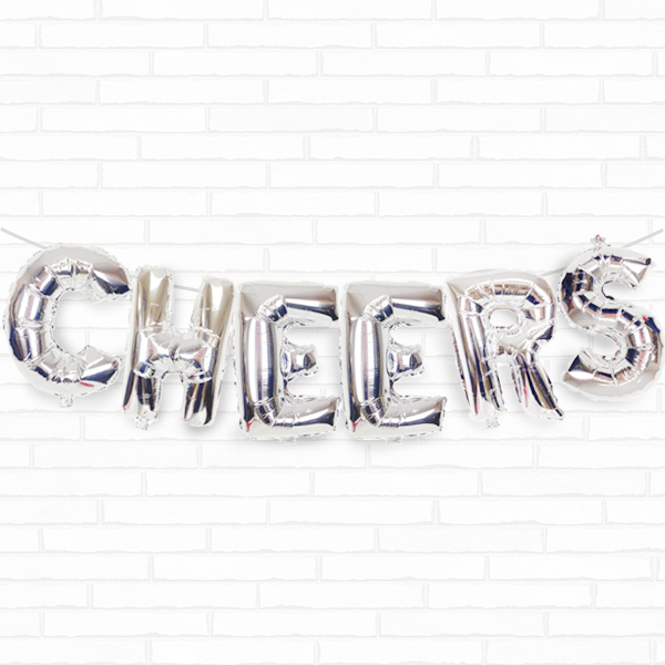 "Silver Cheers 16"" Foil Balloon Decorating Kit"