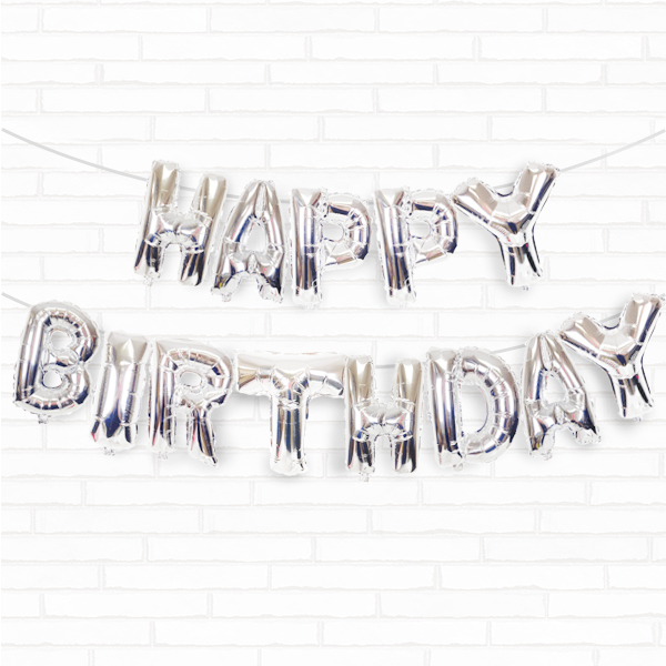 "Silver Happy Birthday 16"" Foil Balloon Decorating Kit"