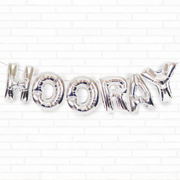 "Silver Hooray 16"" Foil Balloon Decorating Kit"