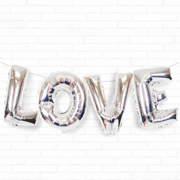 "Silver Love 16"" Foil Balloon Decorating Kit"