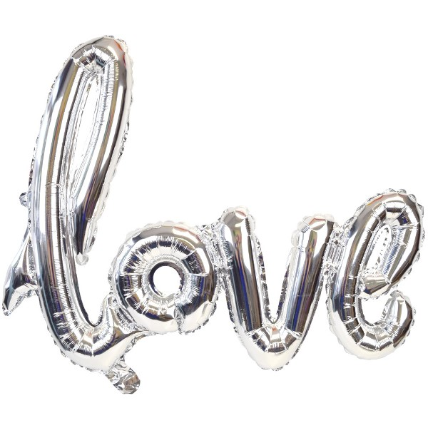 Silver Love Script Foil Balloon 30in