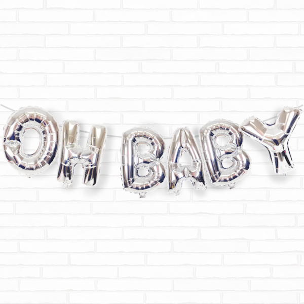 "Silver Oh Baby 16"" Foil Balloon Decorating Kit"