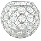 Silver Round Crystal Votive Candle Holder 4in
