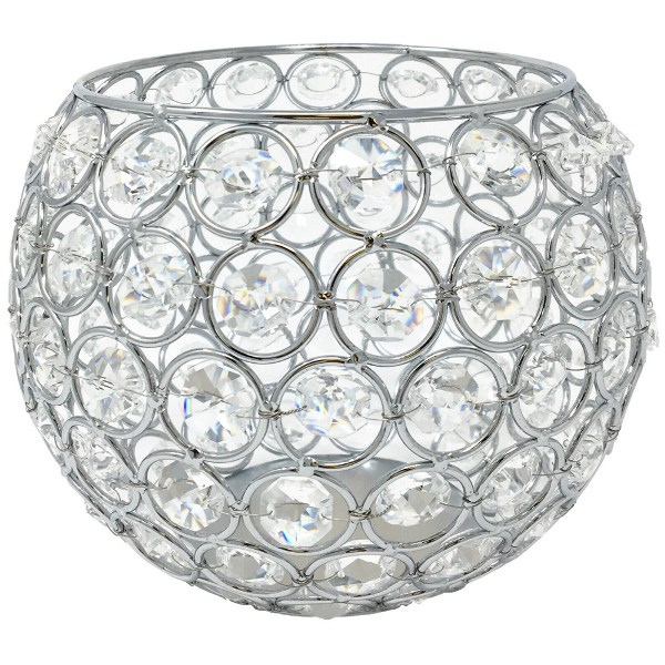 Silver Round Crystal Votive Candle Holder 6in