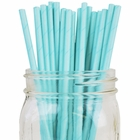 Solid Color Paper Straws 25pcs Aqua