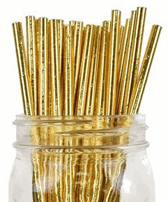 Solid Paper Straws (100pcs, Solid, Metallic Gold)