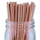 Solid Paper Straws (100pcs, Solid, Metallic Rose Gold)