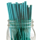 Solid Paper Straws 25pcs Metallic Aqua