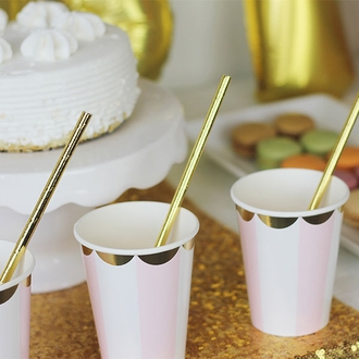Solid Paper Straws 25pcs Metallic Gold