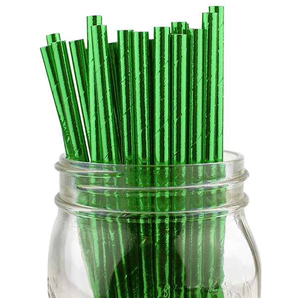 Solid Paper Straws 25pcs Metallic Green