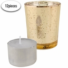 "Speckled Mercury Glass�Votive�Candle Holder 2.75""H�(12pcs,�Gold Votives) w/ 12pcs Wax Tea Light Candles Included"