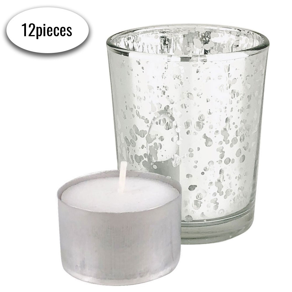 "Speckled Mercury Glass�Votive�Candle Holder 2.75""H�(12pcs,�Silver Votives) w/ 12pcs Wax Tea Light Candles Included"