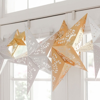 "Star Paper Lantern 11"" Silver Color"