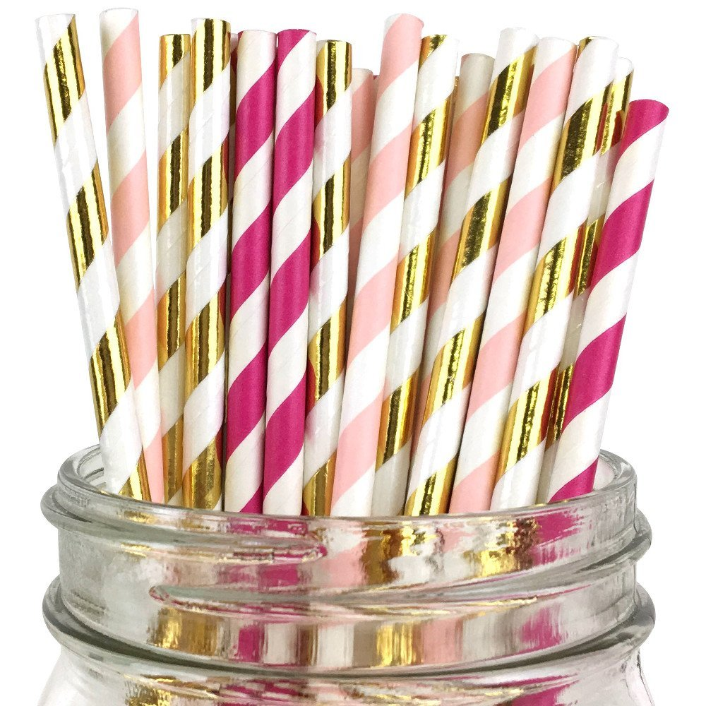 Striped Assorted Paper Straws (100pcs, Fuchsia/Pink/Gold Kit)